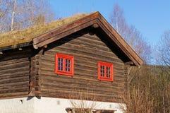 Norwegisches historisches Haus mit einem grünen Dach Lizenzfreies Stockbild