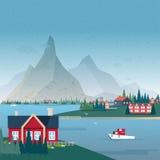 Norwegisches Landschaftspanorama Buchtansicht mit Gebäuden und Boot Bunte vektorabbildung Lizenzfreies Stockfoto