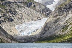 Norwegu krajobraz Nigardsbreen lodowa jezioro i jęzor Touri obraz royalty free