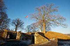 Norweigian flag at Akershus Fortress. Soldiers standing guard at Akershus Fortress Royalty Free Stock Photography