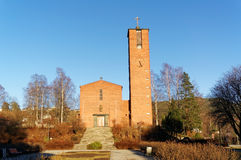 Norweski ceglany kościół w Notodden Fotografia Stock