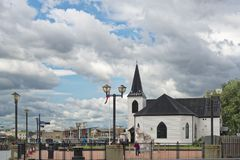 Norweski kościół od wody Fotografia Stock