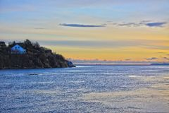 Norwey sea sunset scene Stock Images