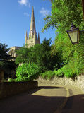 Norwich Cathedral. View of Norwich Cathedral from side street Royalty Free Stock Photography
