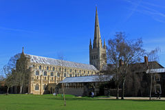 Norwich Cathedral. Norfolk, England, from across the cathedral green Royalty Free Stock Images