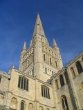 Norwich Cathedral spire. Against a deep blue sky Royalty Free Stock Image
