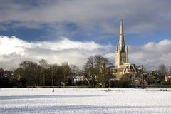 Norwich-Kathedrale und Kricket stellen im Schnee auf Stockbilder