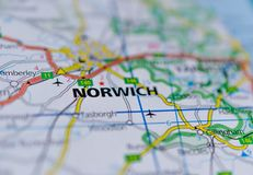 Norwich on map. Close up shot of Norwich on a map Stock Photography