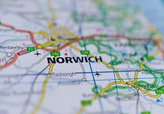 Norwich na mapie Fotografia Stock