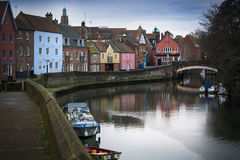 Norwich riverside scene along the banks of the river Wensum Stock Images