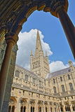 NORWICH, UK - JUNE 3, 2017: View of the Cathedral from one of the Cloister arches Royalty Free Stock Photography