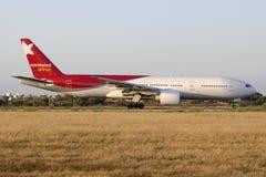 Norwind Boeing 777 na luz do por do sol Foto de Stock