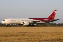 Norwind Boeing 777 na luz do por do sol Fotografia de Stock