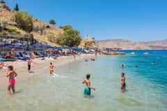 Nos beach at Symi island. Greece Royalty Free Stock Photo