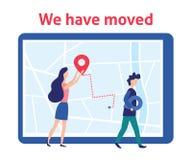 Nos hemos movido Mujer y hombre con las etiquetas en mapa Nuevo direccionamiento Vector stock de ilustración