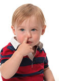 Nose. Little toddler showing his nose Stock Photography