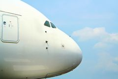 Nose of an Airbus A380. Nose and door on the front of an A380 Airbus Aircraft Royalty Free Stock Image