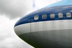 Nose of an airplane. Close-up of the nose of a Boeing 747 Jumbo jet passenger aeroplane Stock Images
