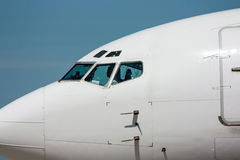 Nose of the airplane. Closeup royalty free stock photography