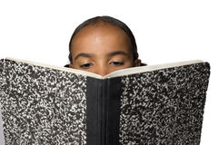 Nose buried in a book Royalty Free Stock Image