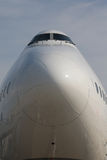Nose and Cockpit of Lufthansa Boeing 747-8 Royalty Free Stock Images