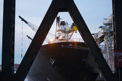 Nose deck big black cargo ship anchored at discharge for downloa Stock Photo