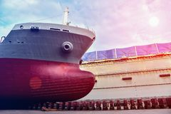 Forward ship closeup in floating dock royalty free stock photography