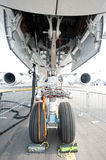 Nose gear of the Airbus A350 at the Singapore Airshow 2014 Royalty Free Stock Photos
