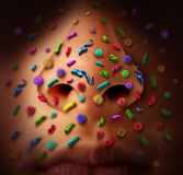 Nose Germs Disease. Spread and the dangers of spreading illness in public as a health care risk concept of catching infectious contagious flu virus or contagion Stock Photos