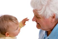 Nose-grabbing baby Royalty Free Stock Photography