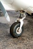 Nose Landing Gear. A nose landing gear of a small propeller aircraft stock photography