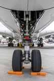 Nose landing gear. PARIS, FRANCE - JUN 23, 2017: Nose landing gear on an Airbus A380 airliner Royalty Free Stock Photography