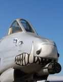 Nose of military plane. Front view of Thunderbolt gunship on display at airshow stock photos
