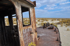 Nose of the old ship, standing in the desert Stock Photo