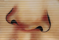 Nose painting. Woman nose on wall painting Stock Photo