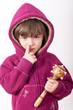 Nose Picker. A young girl caught in the act of picking her nose stock images