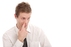 Nose picking Stock Photo