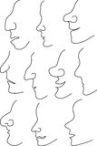Nose profile outline. Ten great noses for female and male profiles in line mode to create a character and mood of the character Stock Photos