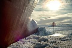 The nose of the ship in the ice. stock photos