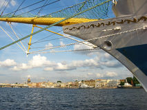 The nose of the ship and the view of the Neva river. Saint Petersburg Stock Photo