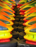 Nose to nose. Bumper cars nose to nose waiting for the start-up time stock images