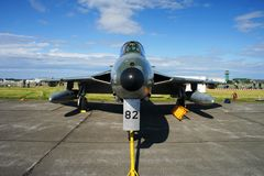 Nose view of Hawker Hunter. Displayed at an airshow Stock Image
