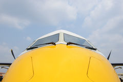 Nose view turboprop airplane Stock Photo