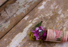 Nosegay. Bouquet of flowers wrapped in a dollar bill stock photos