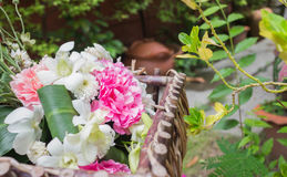 Nosegay. Wedding bouquet was placed in the garden royalty free stock photography