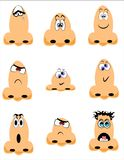 Noses,noses,noses. Assortment of cartoon noses with various expressions on white Stock Image
