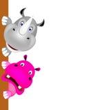 Noshörning och hippooleende Royaltyfri Bild