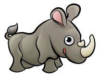 Noshörning Safari Animals Cartoon Character vektor illustrationer