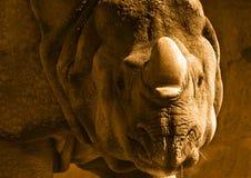noshörningsepia Fotografering för Bildbyråer