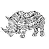 Noshörningzentangle stiliserade, den drog handen, svart på vit Royaltyfri Bild